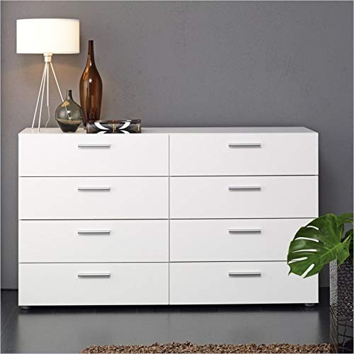 Tvilum 8-Drawer Double Dresser (White)