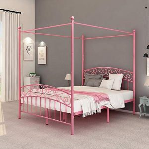 DUMEE Queen Size Metal Canopy Bed Frame Platform Sweet Pink Style