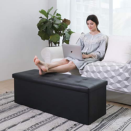 Camabel Folding Ottoman Storage Bench Cube 44 inch Hold up 700lbs Faux Leather