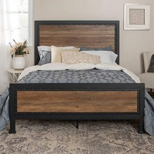 Home Accent Furnishings New Rustic Queen Industrial Wood and Metal Bed