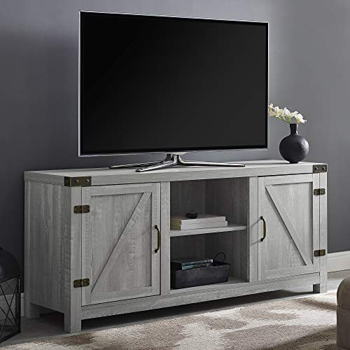 """Walker Edison Furniture Company Farmhouse Barn Wood Universal Stand for TV's up to 64"""" Flat Screen Living Room Storage Cabinet Doors and Shelves Entertainment Center, 58 Inch, Stone Grey"""