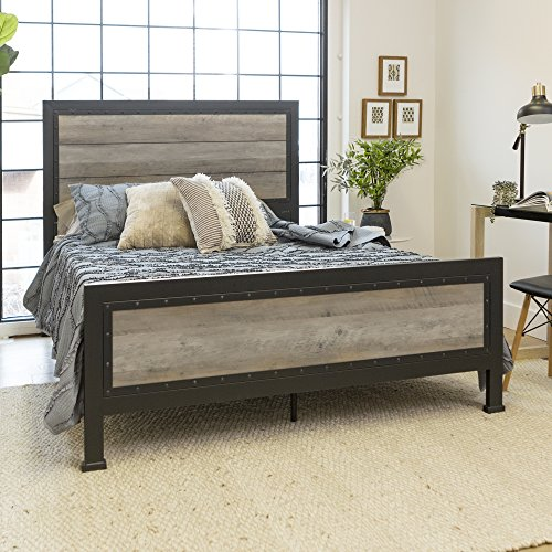 New Rustic Queen Industrial Wood and Metal Bed