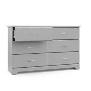 Storkcraft Brookside 6 Drawer Dresser, Pebble Gray, Kids Bedroom Dresser