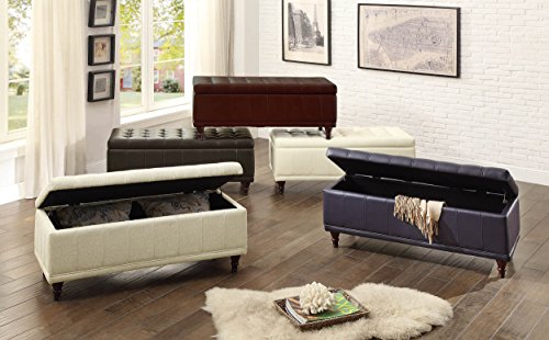 Homelegance Lift Top Storage Bench with Tufted Accents