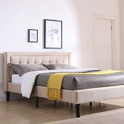 Headboard and Metal Frame with Wood Slat Support, Queen, Linen Classic Brands Mornington Upholstered Platform Bed | Headboard and Metal Frame with Wood Slat Support, Queen, Linen