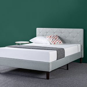 Zinus Shalini Upholstered Diamond Stitched Platform Bed / Mattress Foundation / Easy Assembly / Strong Wood Slat Support / Sage Grey, Full