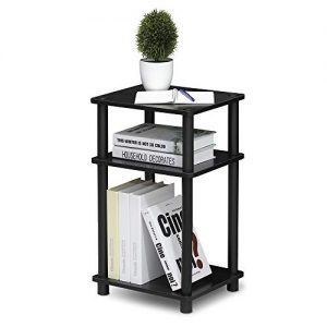 FURINNO Just 3-Tier End Table, 1-Pack, Americano/Black