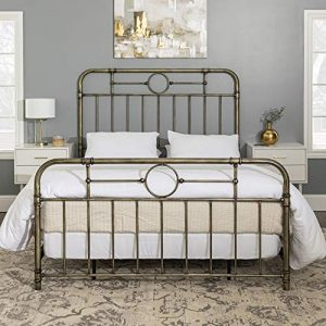 Walker Edison Furniture Company Vintage Metal Iron Pipe Queen Size Bed Headboard Bedroom, Bronze