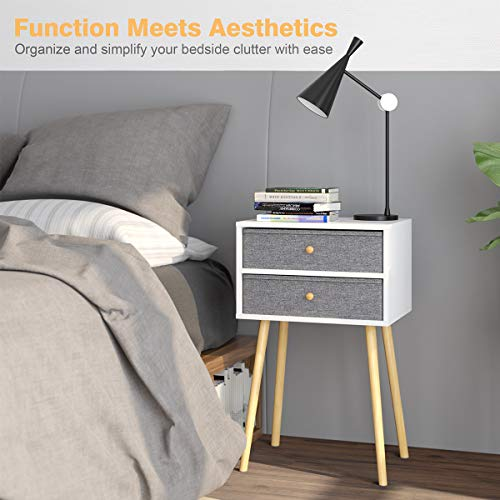 LANGRIA Bedside Table Nightstand End Table with Fabric Storage Drawer Pine