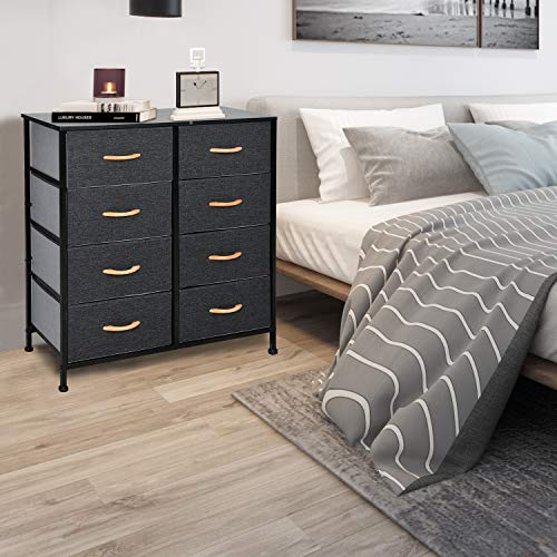 WAYTRIM 4-Tier Wide Drawer Dresser, Storage Unit with 8 Easy Pull Fabric Drawers