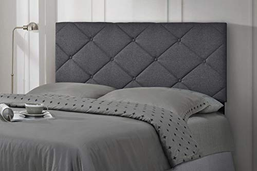 Full Queen Adjustable Size Faux Linen Upholstered Tufted Headboard