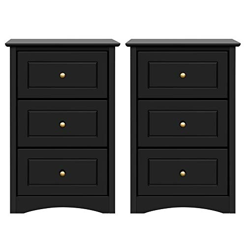 Yaheetech Tall Bedside Table Nightstand End Sofa Table with 3 Drawers - Storage Cabinet Bedroom, Set of 2, Black