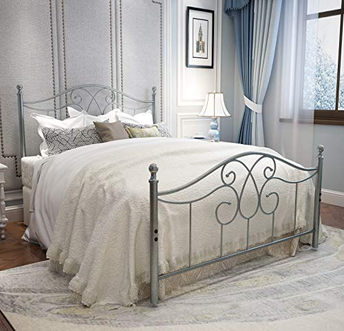 YERPERFO Vintage Sturdy Metal Bed Frame Full Size with Vintage Headboard