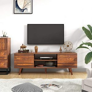 "WLIVE Mid-Century Modern TV Stand for 55"" TV, TV Console, Retro Entertainment Center in Living Room, Entertainment Room, Office, Rustic O9 Oak"