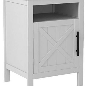 "White Finish Nightstand Side End Table with Door Cabinet and Open Shelf 26"" H"