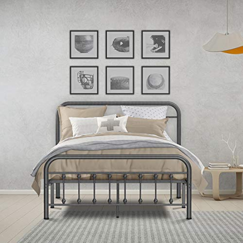RINKMO Metal Bed Frame Full Size Vintage Sturdy Platform Bed with Headboard and Footboard, Premium Steel Slat Support Mattress Foundation, No Box Spring Needed and Easy Assembly (Black)