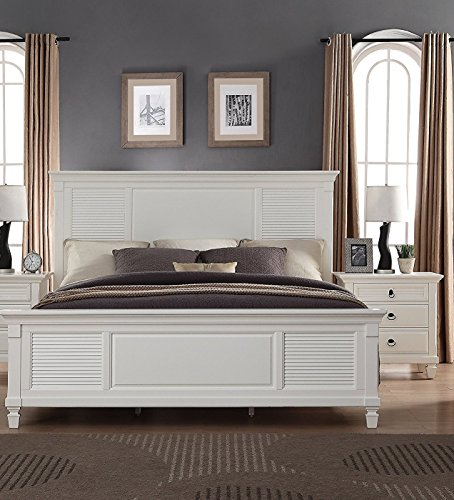 Roundhill Furniture Regitina Bed, King, White