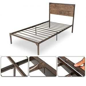 Twin Size Metal Bed Frame/Platform Bed with Wood Headboard/Box Spring Optional/Easy Assembly
