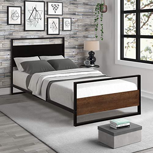 Rhomtree Twin Platform Bed Wood Metal Bed Frame Daybed