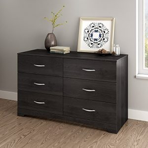 South Shore Step One 6-Drawer Double Dresser-Gray Oak