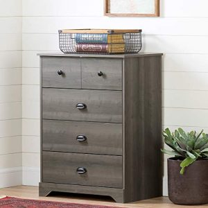 South Shore Volken 4-Drawer Chest Dresser-Gray Maple