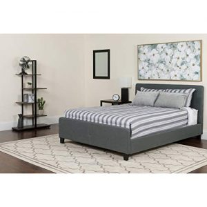 Flash Furniture Tribeca Queen Size Tufted Upholstered Platform Bed in Dark Gray Fabric