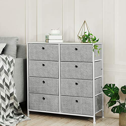 SONGMICS 4-Tier, Storage Dresser with 8 Easy Pull Fabric Drawers and Wooden