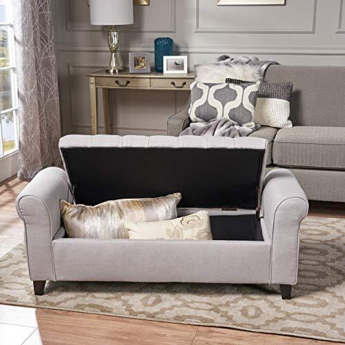 "Christopher Knight Home Living Lamara Light Grey Fabric Armed Storage Bench, 19.50"" D x 50.00"" W x 19.25"" H"