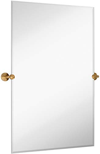 """Large Tilting Pivot Rectangle Mirror with Brushed Gold Wall Anchors   Silver Backed Adjustable Moving & Tilting Wall Mirror   24"""" x 36"""" Inches"""