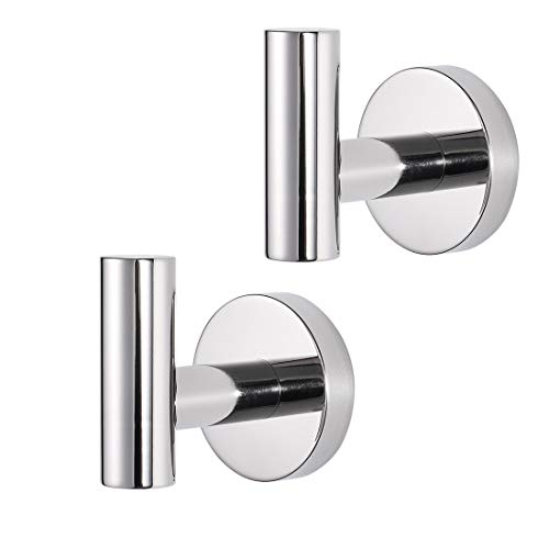 JOMAY Bathroom Towel Hooks for Hanging, Simple Robe Hooks Wall Hooks Heavy Duty, Door Holder Clothes Hanger Wall Mounted, Rustproof Polished SUS 304 Stainless Steel for Bath Kitchen Hotel (2 Pcs)