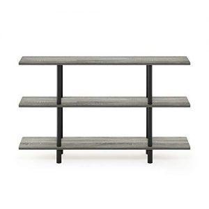 Furinno Turn-N-Tube 3-Tier Wide Display Shelf, French Oak Grey/Black
