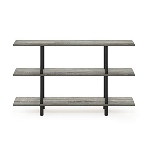 Furinno Turn-N-Tube 3-Tier Wide Display Shelf, French Oak Grey/Black