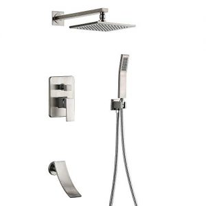 Shower Systems Luxury Brushed Nickel Bathroom Shower Faucet with Tub Spout,8'' Rain Shower Head and Handheld Wall Mount Shower Fixtures (Brushed Nickel shower faucet)