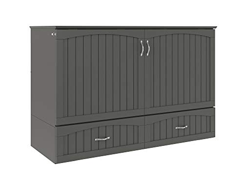 Atlantic Furniture Southampton Murphy Bed Chest with Charging Station & Mattress, Queen, Grey