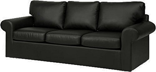 The Ektorp 3 Seat Sofa Cover Replacement is Custom Made for IKEA Ektorp Sofa Cover, an Ektorp Sofa Slipcover Replacement (New Black PU Leather)