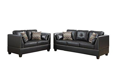 Poundex F6915 Bobkona Zenda Bonded Leather 2 Piece Sofa and Loveseat Set, Espresso