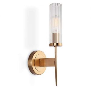 ZitoStory Wall lamp E26 Edison Bulb Round Transparent Glass Wall lamp Fixture Plating Gold Bronze Bedroom Bedside Wall lamp Restaurant Aisle Bathroom wash Table lamp Indoor Wall lamp