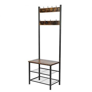 GOOD & GRACIOUS Entryway Coat Rack, Industrial Hall Tree with Storage Bench, Wood Finish Coat and Shoe Rack with Metal Frame, Easy Assembly