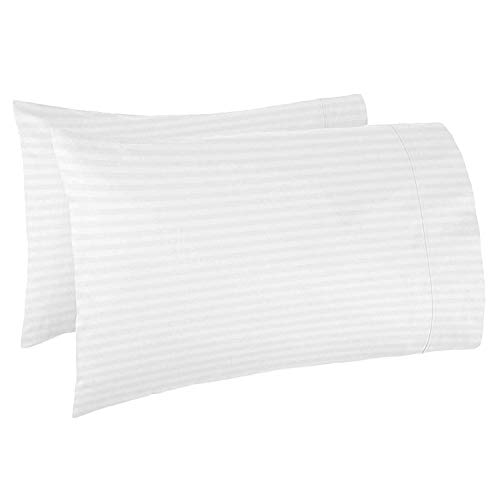 Lukeville Luxury Linen Travel/Toddler Pillowcase Set of 2 Dimention 14.5inch X 20 Inch-Fits Pillows of Size 12 X 16, 13 X 18 or 14 X19,Soft Breathable 100% Cotton 500 Thread Count White Stripe