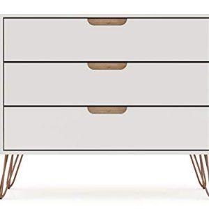 "Manhattan Comfort Rockefeller Mid-Century Modern 3 Drawer Bedroom Dresser, 35.24"", Off White and Nature"