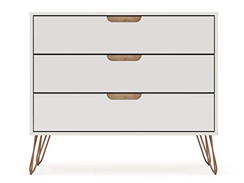 "Manhattan Comfort Rockefeller Mid-Century Modern 3 Drawer Bedroom Dresser, 35.24"", Off White and Nature"