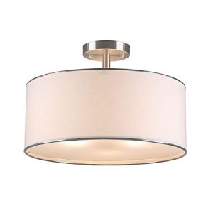 "CO-Z Drum Light, 18"" Brushed Nickel 3 Light Drum Chandelier, Semi Flush Mount Contemporary Ceiling Lighting Fixture with Diffused Shade for Kitchen, Hallway, Dining Room Table, Bedroom, Bathroom"