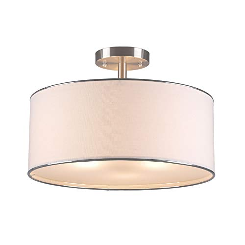 """CO-Z Drum Light, 18"""" Brushed Nickel 3 Light Drum Chandelier, Semi Flush Mount Contemporary Ceiling Lighting Fixture with Diffused Shade for Kitchen, Hallway, Dining Room Table, Bedroom, Bathroom"""