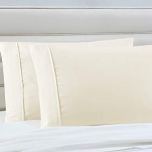Manor Ridge Luxury 100 GSM Brushed Microfiber Pillowcases, Set of 2, Standard, Ivory