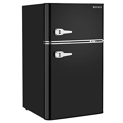 ROVSUN Compact Refrigerator, 3.2 Cu Ft 2 Door Mini Fridge with Freezer, Removable Shelves, Mechanical Temp Control, Ideal Food and Drink Beer Storage for Kitchen, Dorm, Office, Apartment (Black)