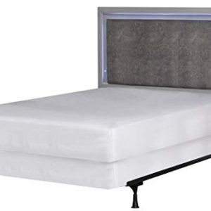 Hillsdale Furniture Hillsdale Kids and Teen Lyndon Lane Full Upholstered Panel LED Lighted Headboard with Frame, Gray