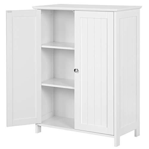 YAHEETECH Bathroom Floor Storage Cabinet Space Saver Organizer Double Door Adjustable Shelf 23.6in L x 11.8in W x 31.7in H