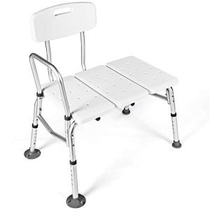 Giantex Tub Transfer Bench for Elderly W/Adjustable Arm,Back and Leg Height for Medical Bathroom Bathtub Stool Chair Shower Seat Bench