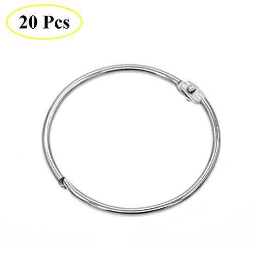 Coideal Metal Circular Shower Curtain Ring, Easy to Open and Close, 20 Pack Silver 2 Inch Diameter Drape Ring Loops for Bathroom, Home Decoration, Movable Clasp Suitable for Fixed Pole (50 mm)