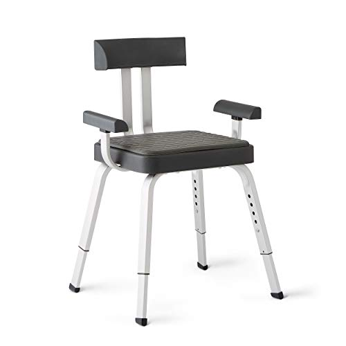 Medline Momentum Shower Chair, Premium Bath Chair with Microban Antimicrobial Protection and Non-Slip Feet, Medical Shower Seats for Adults, Gray